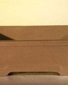 Brown Unglazed Ceramic Bonsai Pot #2 - Rectangle 10 x 7.875 x 3.125
