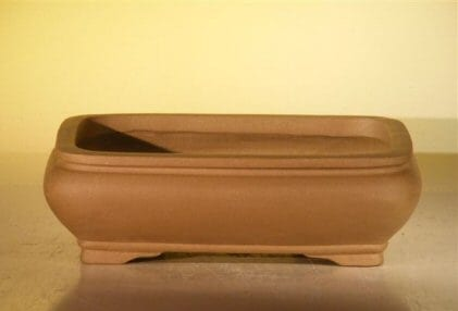 Tan Unglazed Ceramic Bonsai Pot #2 - Rectangle 6.5 x 4.5 x 2.125