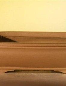 Tan Unglazed Ceramic Bonsai Pot #4 - Rectangle 8 x 6.125 x 2.5