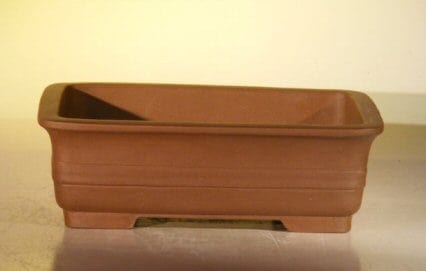 Tan Unglazed Ceramic Bonsai Pot #1 - Rectangle 8 x 6.125 x 2.5