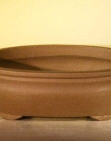 Tan Unglazed Ceramic Bonsai Pot #2 - Oval 8 x 6.125 x 2.5