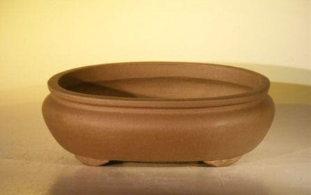 Tan Unglazed Ceramic Bonsai Pot #2 - Oval 8 x 6.125 x 2.5