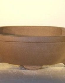 Tan Unglazed Ceramic Bonsai Pot #2 - Oval 10 x 7.875 x 3.125