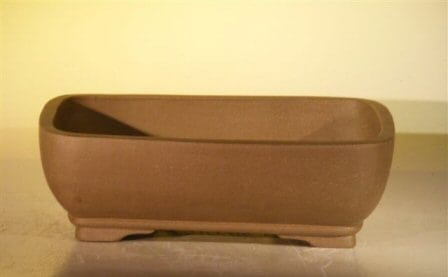 Tan Unglazed Ceramic Bonsai Pot - Rectangle 10.7 x 7.9 x 3
