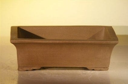 Tan Unglazed Ceramic Bonsai Pot #2 - Rectangle 8 x 6.125 x 2.5