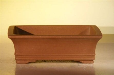Brown Unglazed Ceramic Bonsai Pot #1 - Rectangle 10 x 7.875 x 3.125