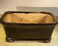 Black Ceramic Bonsai Pot #1 - Rectangle Professional Series 10 x 8 x 4