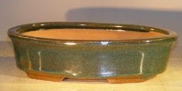 Dark Green Ceramic Bonsai Pot - Oval 9.25 x 6.25 x 2.5