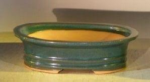 Dark Blue Ceramic Bonsai Pot - Oval 9.5 x 7.0 x 3.0 OD 8.0 x 6.0 x 2.5 ID