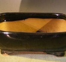 Black Ceramic Bonsai Pot - Rectangle 10.0 x 8.0 x 3.125