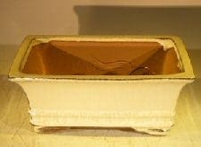 Beige Ceramic Bonsai Pot - Rectangle Professional Series 8.25 x 6.25 x 3.0