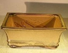 Mustard Ceramic Bonsai Pot - Rectangle Professional Series 8 x 6 x 3