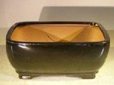 Black Ceramic Bonsai Pot #1 - Rectangle Professional Series 8.25 x 6.25 x 4.0