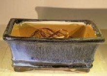 Marble Blue Ceramic Bonsai Pot - Rectangle Professional Series 8.25 x 6.25 x 4.0