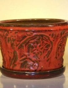Parisian Red Ceramic Bonsai Pot With Matching Tray Round 11.25 x 7.5