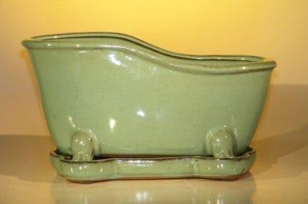 Blue/Green Ceramic Bonsai Pot With Matching Tray Bathtub Shape 10.875 x 4.875 x 5.25