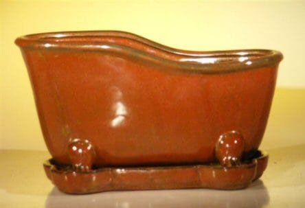 Aztec Orange Ceramic Bonsai Pot With Matching Tray Bathtub Shape 10.875 x 4.875 x 5.25