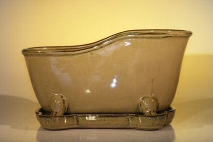 Mustard Color Ceramic Bonsai Pot With Matching Tray Bathtub Shape 10.875 x 4.875 x 5.25