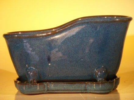 Blue Ceramic Bonsai Pot With Matching Tray Bathtub Shape 10.875 x 4.875 x 5.25