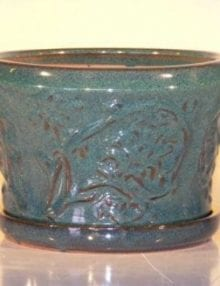 Blue/Green Ceramic Bonsai Pot - Round Attached Matching Tray 9x5.5
