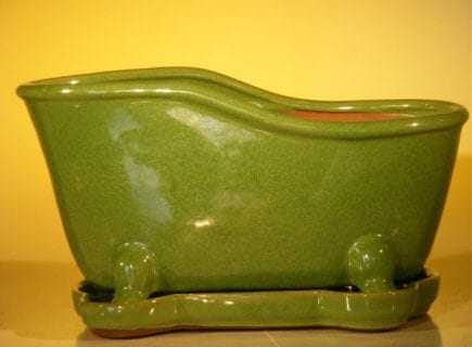 Lime Green Ceramic Bonsai Pot With Matching Tray Bathtub Shape 10.875 x 4.875 x 5.25