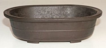 Brown Mica Bonsai Pot - Oval 11.5 x 8.0 x 3.5 OD 10.0 x 6.75 x 2.75 ID