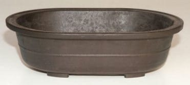 Brown Mica Bonsai Pot - Oval 14 x 9.75 x 4.0OD 12.5 x 8.25 x 3.25 ID
