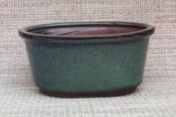 Green Ceramic Bonsai Pot - Oval 6.25 x 4.75 x 3