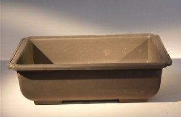 Brown Bonsai Training Pot - Rectangle Heavy Duty Plastic 7.75 x 5.5 x 2.25