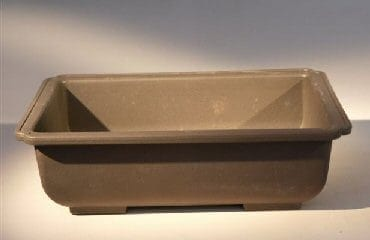 Brown Plastic Bonsai Training Pot - Rectangle Heavy Duty Plastic 9.5 x 6.75 x 2.5