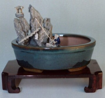 Water/Stone Landscape Scene Ceramic Bonsai Pot - 8 x 6