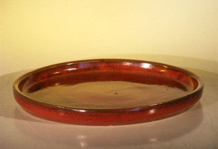 Parisian Red Ceramic Humidity/Drip Bonsai Tray - Round 8 x 1 OD / 7.5 x 1.0 ID