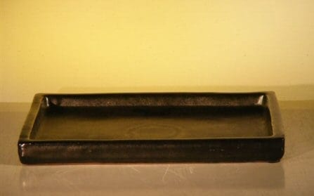 Black Ceramic Humidity/Drip Bonsai Tray - Rectangle 7.75 x 5.25 x .75 OD 7.5 x 4.5 x .75 ID