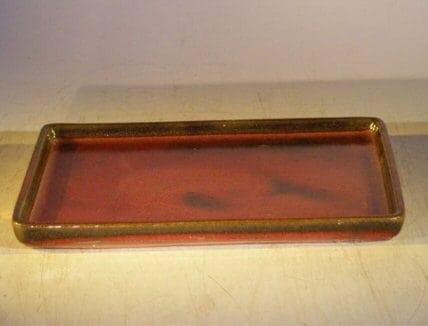 Parisian Red Ceramic Humidity/Drip Bonsai Tray - Rectangle 7.5 x 5.5 x 1.0 OD 7.5 x 5.5 x .5 ID
