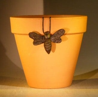 Cast Iron Hanging Garden Pot Decoration - Bumble Bee 3.75 Wide x 2.5 High