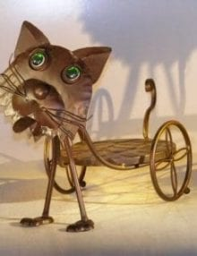 Metal Cat Garden Pot Holder with Moving Head and Tail 18.0 x 8.5 x 14.0