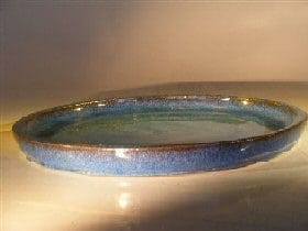 Blue Ceramic Humidity/Drip Bonsai Tray - Round 14.0 x 1.5 OD / 13.0 x 1.0 ID