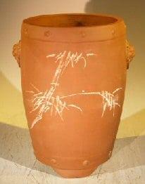 Unglazed Cascade Bonsai Pot with Etching 6 x 6 x 9