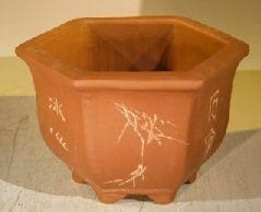 Unglazed Bonsai Pot with Etching and Raised Feet 7 x 8 x 5