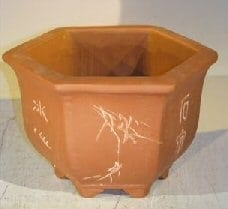 Unglazed Bonsai Pot with Etching and Raised Feet 8 x 9 x 6