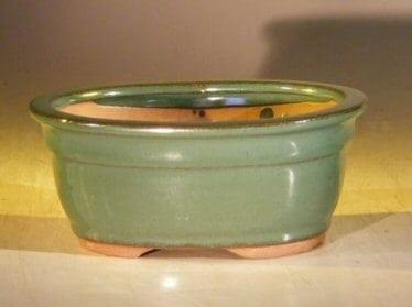 Green Ceramic Bonsai Pot - Oval 6.0 x 5.0 x 2.75
