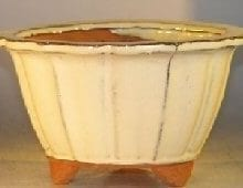 Beige Ceramic Bonsai Pot Round Fluted Shape 7.75 x 4.5