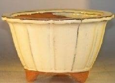 Beige Ceramic Bonsai Pot Round Fluted Shape 7.75 x 4.5