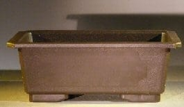 Dark Brown Bonsai Training Pot - Rectangle Heavy Duty Plastic - Taller Profile 9.5 x 6.5 x 3.5
