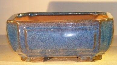 Blue Ceramic Bonsai Pot - Rectangle Professional Series 10 x 8 x 4