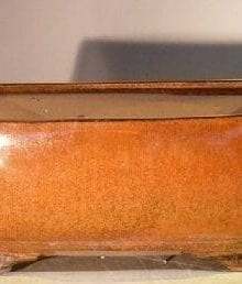 Aztec Orange Ceramic Bonsai Pot #1 - Rectangle Professional Series 10 x 8 x 4