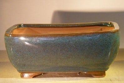 Blue/Green Ceramic Bonsai Pot - Rectangle Professional Series 10 x 8 x 4