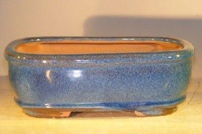 Light Blue Ceramic Bonsai Pot - Rectangle 8 x 6 x 2.5