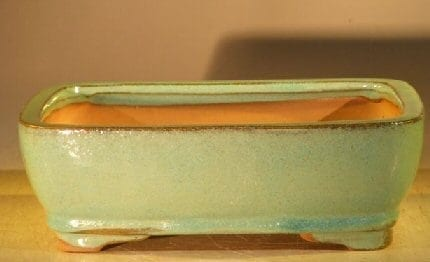 Creamy Blue/Green Ceramic Bonsai Pot - Rectangle 8 x 6 x 2.5
