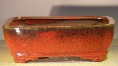 Parisian Red Ceramic Bonsai Pot - Rectangle 8 x 6 x 2.5